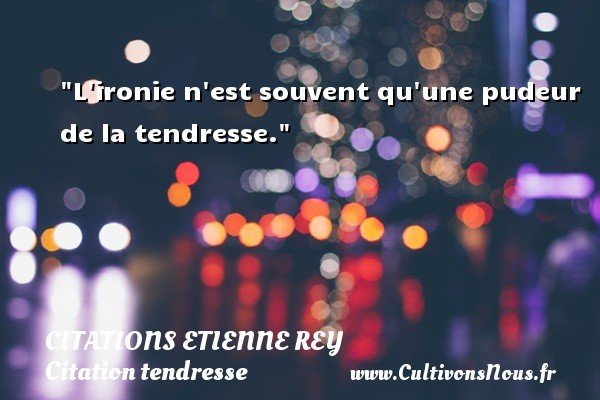 L ironie n est souvent qu une pudeur de la tendresse. Une citation d  Etienne Rey CITATIONS ETIENNE REY - Citation tendresse