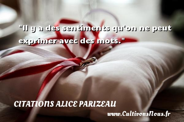 Citations Alice Parizeau - Citation sentiment - Il y a des sentiments qu on ne peut exprimer avec des mots. Une citation d  Alice Parizeau CITATIONS ALICE PARIZEAU