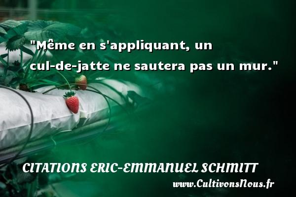 Même en s appliquant, un cul-de-jatte ne sautera pas un mur. Une citation d  Eric-Emmanuel Schmitt CITATIONS ERIC-EMMANUEL SCHMITT