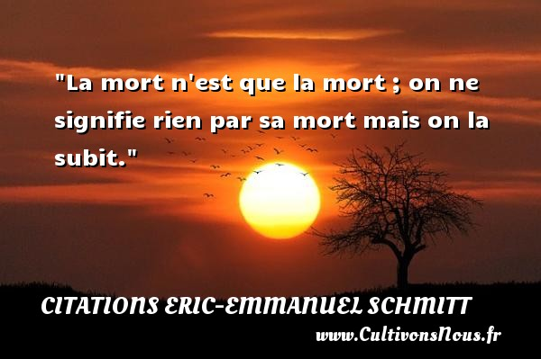 La mort n est que la mort ; on ne signifie rien par sa mort mais on la subit. Une citation d  Eric-Emmanuel Schmitt CITATIONS ERIC-EMMANUEL SCHMITT