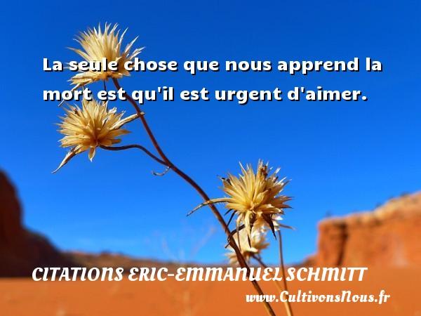 Citations Eric-Emmanuel Schmitt - La seule chose que nous apprend la mort est qu il est urgent d aimer. Une citation d  Eric-Emmanuel Schmitt CITATIONS ERIC-EMMANUEL SCHMITT