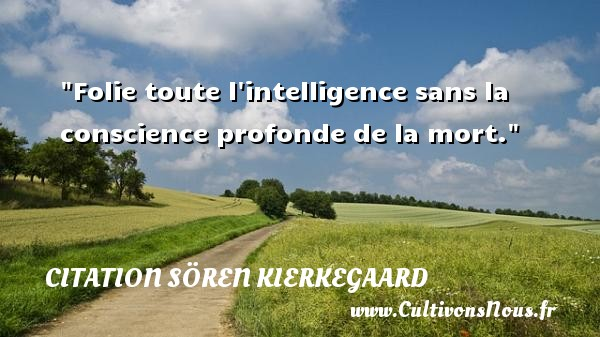 Citation Sören Kierkegaard - Citation conscience - Folie toute l intelligence sans la conscience profonde de la mort. Une citation de Sören Kierkegaard CITATION SÖREN KIERKEGAARD