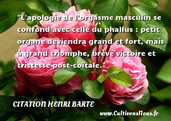 Citation Henri Barte - Citation victoire - L apologie de l orgasme masculin se confond avec celle du phallus : petit organe deviendra grand et fort, mais à grand triomphe, brève victoire et tristesse post-coïtale. Une citation de Henri Barte CITATION HENRI BARTE