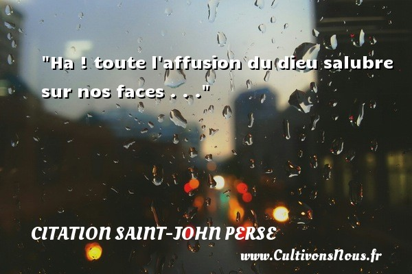 Ha ! toute l affusion du dieu salubre sur nos faces . . . Une citation de Saint-John Perse CITATION SAINT-JOHN PERSE