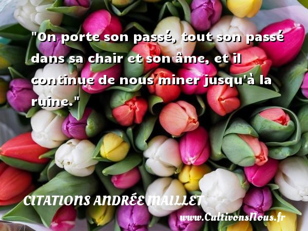 On porte son passé, tout son passé dans sa chair et son âme, et il continue de nous miner jusqu à la ruine. Une citation d  Andrée Maillet CITATIONS ANDRÉE MAILLET - Citations Andrée Maillet - Citation porte
