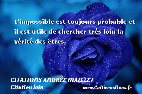 L impossible est toujours probable et il est utile de chercher très loin la vérité des êtres. Une citation d  Andrée Maillet CITATIONS ANDRÉE MAILLET - Citations Andrée Maillet - Citation loin