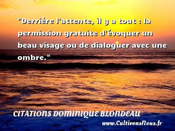 Citations Dominique Blondeau - Citation Dialogue - Derrière l attente, il y a tout : la permission gratuite d évoquer un beau visage ou de dialoguer avec une ombre. Une citation de Dominique Blondeau CITATIONS DOMINIQUE BLONDEAU