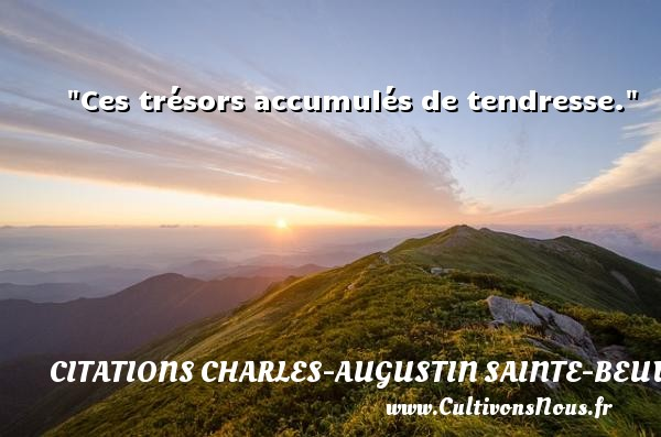 Ces trésors accumulés de tendresse. Une citation de Charles-Augustin Sainte-Beuve CITATIONS CHARLES-AUGUSTIN SAINTE-BEUVE - Citation tendresse
