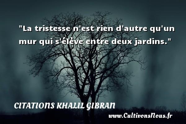 La tristesse n est rien d autre qu un mur qui s élève entre deux jardins. Une citation de Khalil Gibran CITATIONS KHALIL GIBRAN
