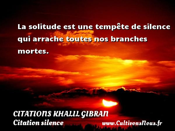La solitude est une tempête de silence qui arrache toutes nos branches mortes. Une citation de Khalil Gibran CITATIONS KHALIL GIBRAN - Citation silence