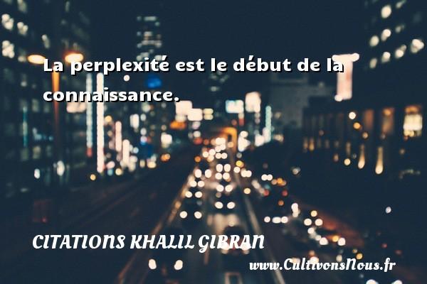 Citations Khalil Gibran - La perplexité est le début de la connaissance. Une citation de Khalil Gibran CITATIONS KHALIL GIBRAN