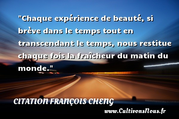 Chaque expérience de beauté, si brève dans le temps tout en transcendant le temps, nous restitue chaque fois la fraîcheur du matin du monde. Une citation de François Cheng CITATION FRANÇOIS CHENG - Citation François Cheng - Citation matin