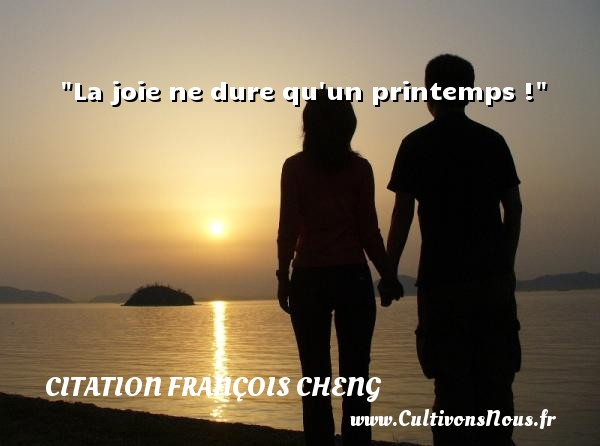 La joie ne dure qu un printemps ! Une citation de François Cheng CITATION FRANÇOIS CHENG - Citation François Cheng