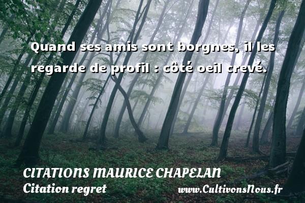 Quand ses amis sont borgnes, il les regarde de profil : côté oeil crevé. Une citation de Maurice Chapelan CITATIONS MAURICE CHAPELAN - Citation regret