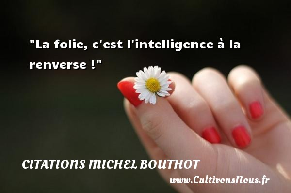 La folie, c est l intelligence à la renverse ! Une citation de Michel Bouthot CITATIONS MICHEL BOUTHOT
