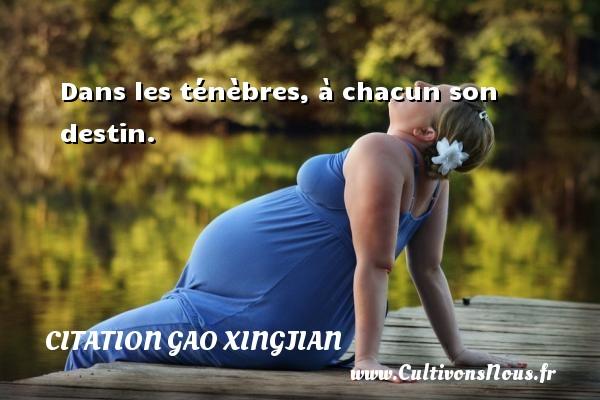 Citation Gao Xingjian - Dans les ténèbres, à chacun son destin. Une citation de Gao Xingjian CITATION GAO XINGJIAN