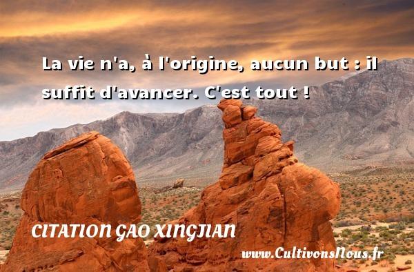 La vie n a, à l origine, aucun but : il suffit d avancer. C est tout ! Une citation de Gao Xingjian CITATION GAO XINGJIAN
