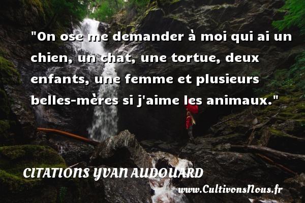 Citations Yvan Audouard - Citation animaux - On ose me demander à moi qui ai un chien, un chat, une tortue, deux enfants, une femme et plusieurs belles-mères si j aime les animaux. Une citation d  Yvan Audouard CITATIONS YVAN AUDOUARD