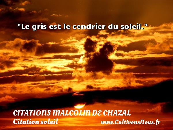 Le gris est le cendrier du soleil. Une citation de Malcolm de Chazal CITATIONS MALCOLM DE CHAZAL - Citation soleil