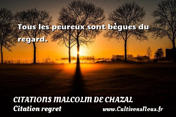 Tous les peureux sont bègues du regard. Une citation de Malcolm de Chazal CITATIONS MALCOLM DE CHAZAL - Citation regret