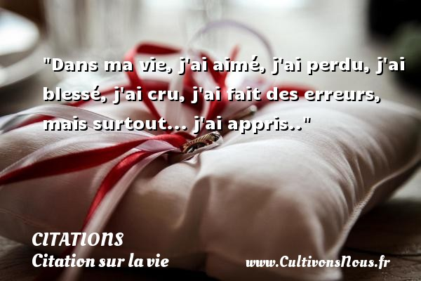 Citation anonyme - Citations - Citation sur la vie - Dans ma vie, j ai aimé, j ai perdu, j ai blessé, j ai cru, j ai fait des erreurs, mais surtout... j ai appris.. CITATIONS