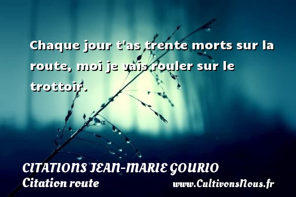 Citations Jean-Marie Gourio - Citation route - Chaque jour t as trente morts sur la route, moi je vais rouler sur le trottoir. Une citation de Jean-Marie Gourio CITATIONS JEAN-MARIE GOURIO