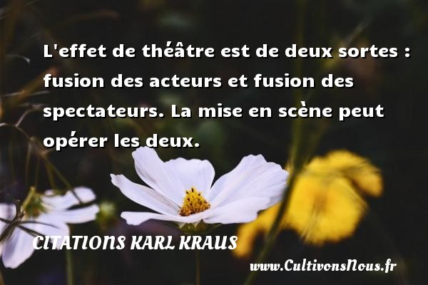 L effet de théâtre est de deux sortes : fusion des acteurs et fusion des spectateurs. La mise en scène peut opérer les deux. Une citation de Karl Kraus CITATIONS KARL KRAUS