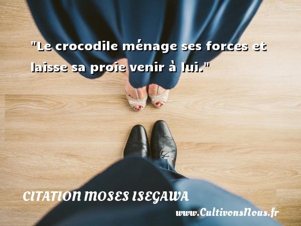 Citation Moses Isegawa - Le crocodile ménage ses forces et laisse sa proie venir à lui. Une citation de Moses Isegawa CITATION MOSES ISEGAWA