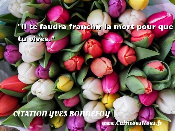 Citation Yves Bonnefoy - Il te faudra franchir la mort pour que tu vives. Une citation d  Yves Bonnefoy CITATION YVES BONNEFOY