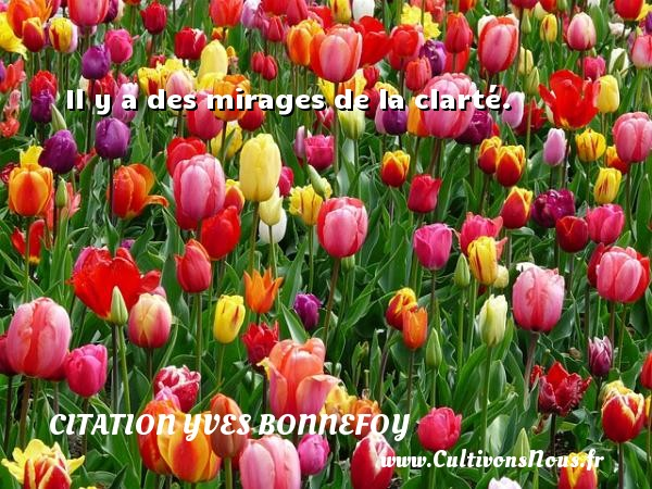 Citation Yves Bonnefoy - Il y a des mirages de la clarté. Une citation d  Yves Bonnefoy CITATION YVES BONNEFOY