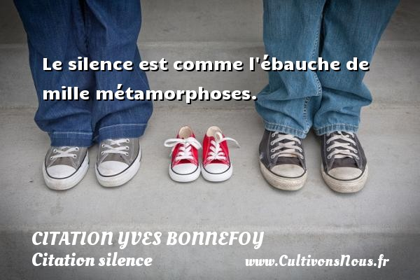 Le silence est comme l ébauche de mille métamorphoses. Une citation d  Yves Bonnefoy CITATION YVES BONNEFOY - Citation silence