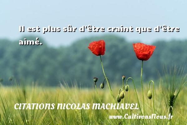 Citations Nicolas Machiavel - Il est plus sûr d être craint que d être aimé. Une citation de Nicolas Machiavel CITATIONS NICOLAS MACHIAVEL