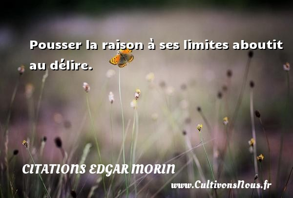Citations Edgar Morin - Pousser la raison à ses limites aboutit au délire. Une citation d  Edgar Morin CITATIONS EDGAR MORIN