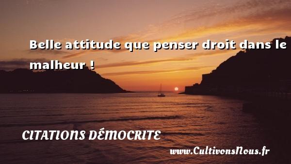 Citations Démocrite - Belle attitude que penser droit dans le malheur ! Une citation de Démocrite CITATIONS DÉMOCRITE