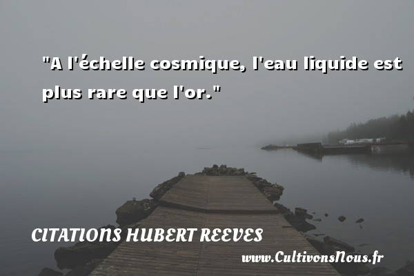 Citations Hubert Reeves - A l échelle cosmique, l eau liquide est plus rare que l or. Une citation de Hubert Reeves CITATIONS HUBERT REEVES
