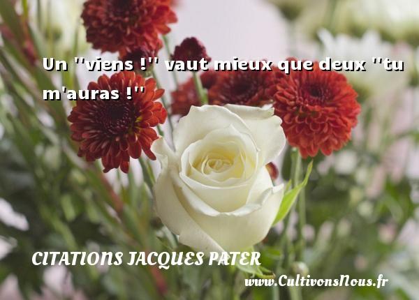 Un   viens !   vaut mieux que deux   tu m auras !   Une citation de Jacques Pater CITATIONS JACQUES PATER