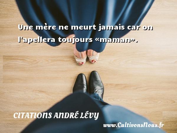 Une mère ne meurt jamais car on l apellera toujours «maman». Une citation d  André Lévy CITATIONS ANDRÉ LÉVY - Citations André Lévy