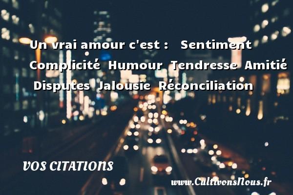 Vos citations - Un vrai amour c est :    Sentiment   Complicité   Humour   Tendresse   Amitié   Disputes   Jalousie   Réconciliation    VOS CITATIONS