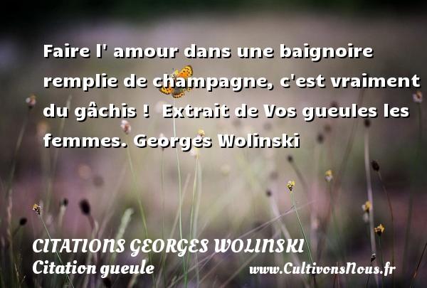 Citations Georges Wolinski - Citation gueule - Faire l  amour dans une baignoire remplie de champagne, c est vraiment du gâchis !   Extrait de Vos gueules les femmes. Georges Wolinski CITATIONS GEORGES WOLINSKI