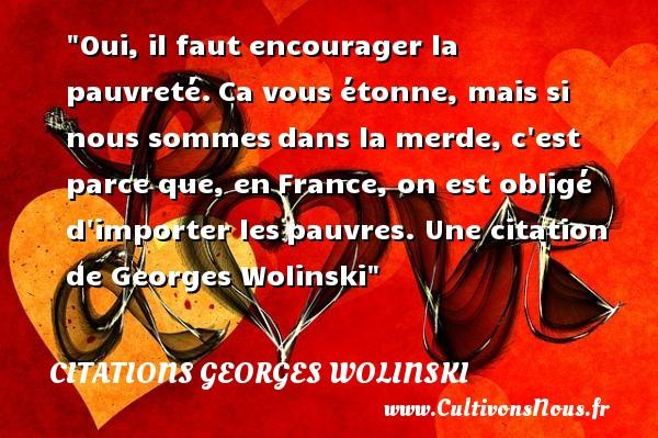 Citations Georges Wolinski - Citation courage - Oui, il faut encourager la pauvreté.Ca vous étonne, mais si nous sommesdans la merde, c est parce que, enFrance, on est obligé d importer lespauvres.   Georges Wolinski   Une citation sur le courage CITATIONS GEORGES WOLINSKI