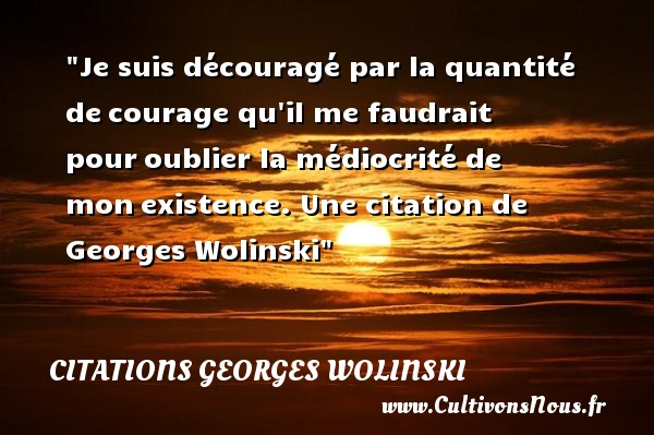 Je suis découragé par la quantité de courage qu il me faudrait pour oublier la médiocrité de mon existence.   Georges Wolinski   Une citation sur le courage CITATIONS GEORGES WOLINSKI - Citation courage