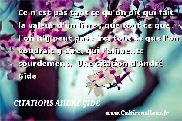 Ce n est pas tant ce qu on dit qui fait la valeur d un livre , que tout ce que l on n y peut pas dire, tout ce que l on voudrait y dire, qui l alimente sourdement.   Une  citation  d André Gide CITATIONS ANDRÉ GIDE - Citations André Gide
