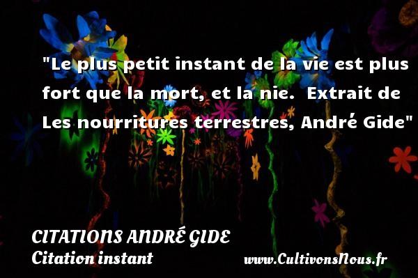 Citations André Gide - Citation instant - Le plus petit instant de la vie est plus fort que la mort, et la nie.   Extrait de Les nourritures terrestres, André Gide   Une citation sur l instant CITATIONS ANDRÉ GIDE