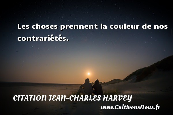 Les choses prennent la couleur de nos contrariétés. Une citation de Jean-Charles Harvey CITATION JEAN-CHARLES HARVEY - Citation couleur