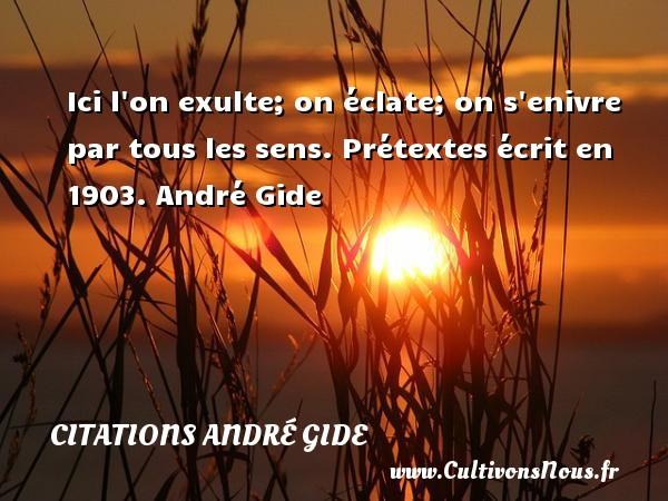 Ici l on exulte; on éclate; on s enivre par tous les sens.  Prétextes écrit en 1903. André Gide CITATIONS ANDRÉ GIDE - Citations André Gide