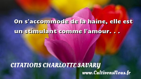 Citations Charlotte Savary - On s accommode de la haine, elle est un stimulant comme l amour. . . Une citation de Charlotte Savary CITATIONS CHARLOTTE SAVARY