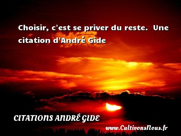 Choisir, c est se priver du reste.   Une  citation  d André Gide CITATIONS ANDRÉ GIDE - Citations André Gide