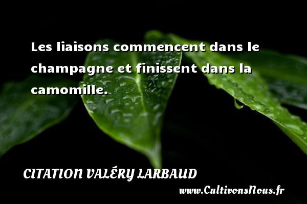 Citation Valéry Larbaud - Les liaisons commencent dans le champagne et finissent dans la camomille. Une citation de Valéry Larbaud CITATION VALÉRY LARBAUD