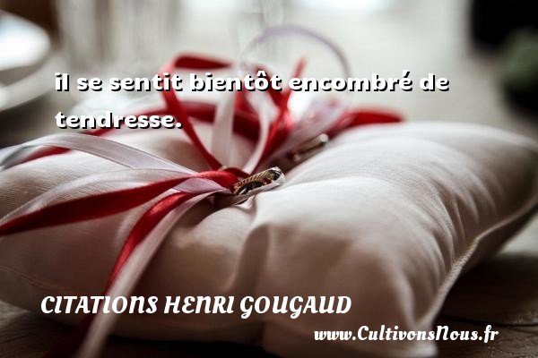 Citations Henri Gougaud - il se sentit bientôt encombré de tendresse. Une citation de Henri Gougaud CITATIONS HENRI GOUGAUD
