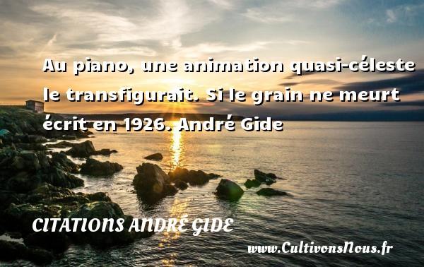 Au piano, une animation quasi-céleste le transfigurait.  Si le grain ne meurt écrit en 1926. André Gide CITATIONS ANDRÉ GIDE - Citations André Gide